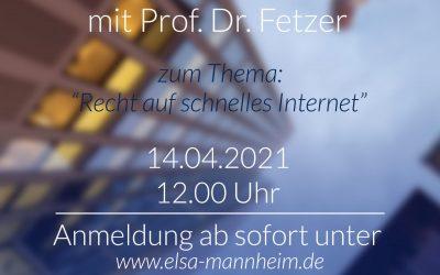 Lunchtime Talk mit Prof. Dr. Fetzer am 14.04.2021